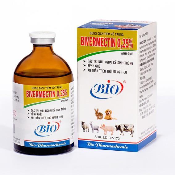 Bio Bivermectin 025  20ml Trừ ghẻ ve rận nội ngoại ký sinh trùng vật nuôi