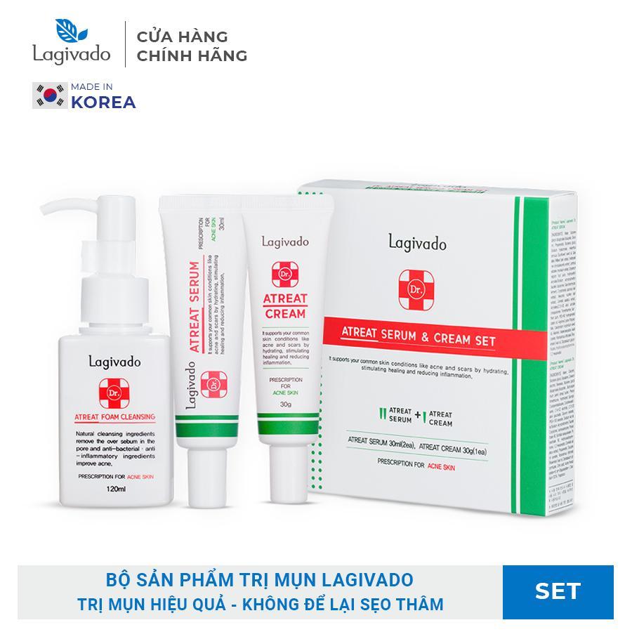 Bộ sản phẩm dành cho da mụn, không để lại sẹo, vết thâm HÀN QUỐC LAGIVADO: gel rửa mặt 120ml + kem mụn 30g + serum 60g