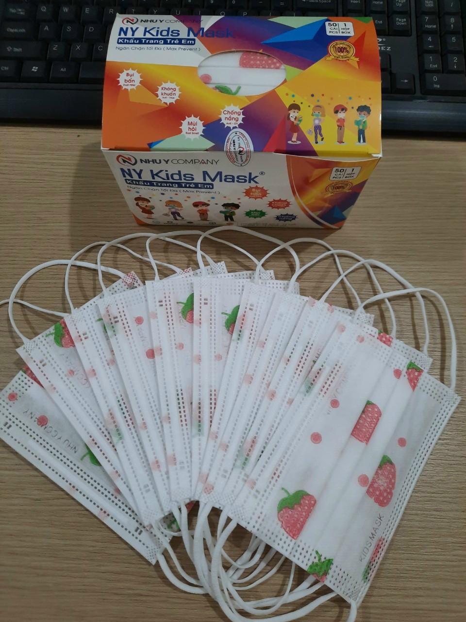 Khẩu Trang y tế trẻ em Như Ý có giấy lọc hộp 50 cái