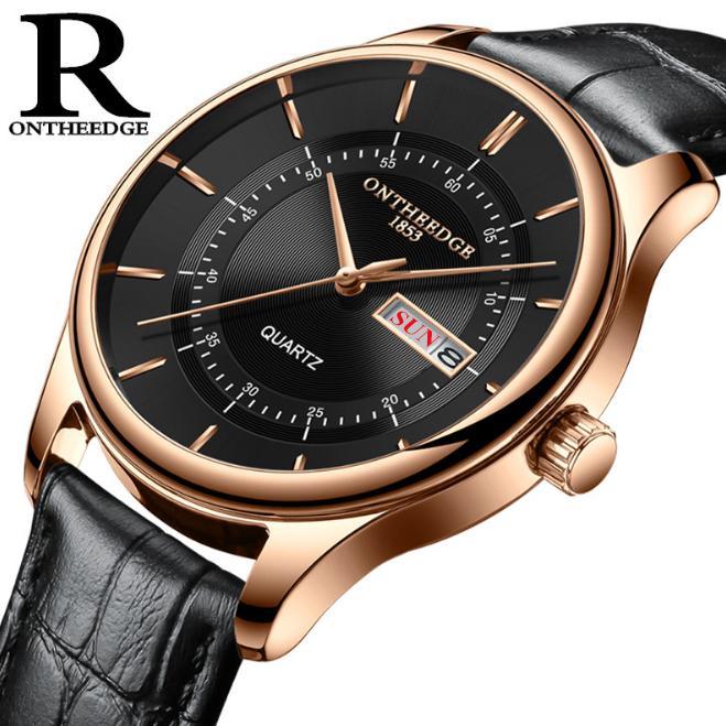 Đồng hồ nam Ontheedge RZY029 dây da thời trang Fullbox chính hãng (Đen Vàng Đen)