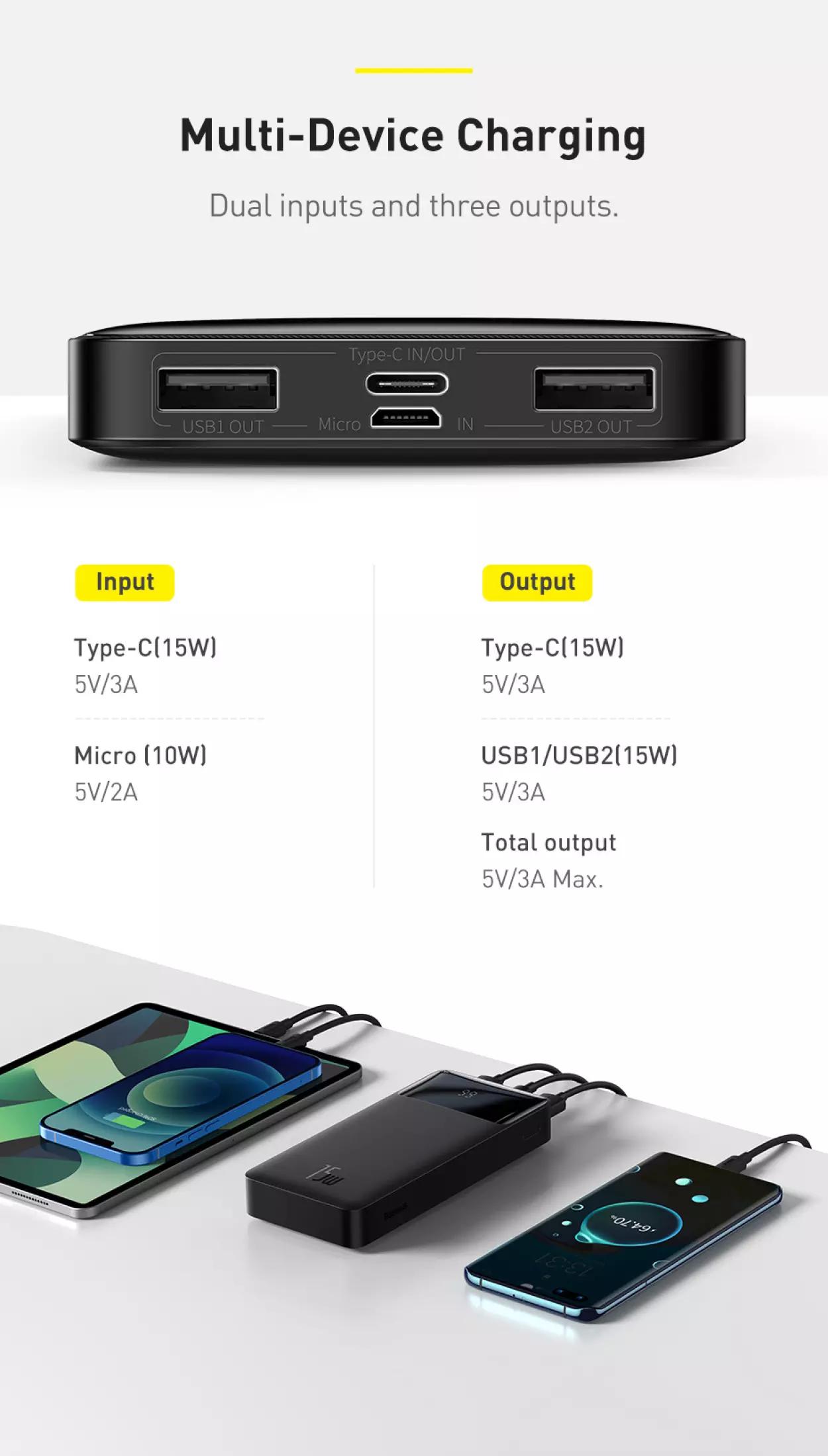 Pin sạc dự phòng Baseus dung lượng 10000mAh công suất 15W hoặc 20W, màn hình LED hiển thị, sạc nhanh QC, PD cho iPhone, Samsung, Xiaomi,....-Phân phối chính hãng tại Baseus Việt Nam 4