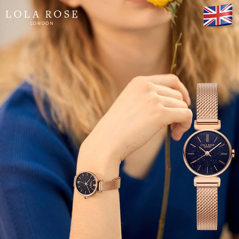 Hình ảnh Đồng hồ nữ chính hãng cao cấp, dây đeo kim loại milanese Italy sang trọng, mặt tròn nhỏ tính tế với đá cẩm thạch Galaxy lấp lánh, phù hợp với cô nàng công sở sang chảnh Lola Rose, bảo hành 2 năm LR4048