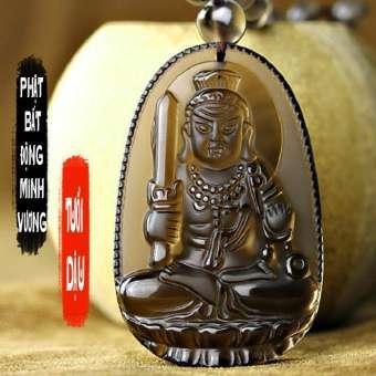Chuỗi hạt đeo cổ mặt phật Bất Động Minh Vương - Phật bản mệnh người tuổi Dậu - Đá thạch anh khói