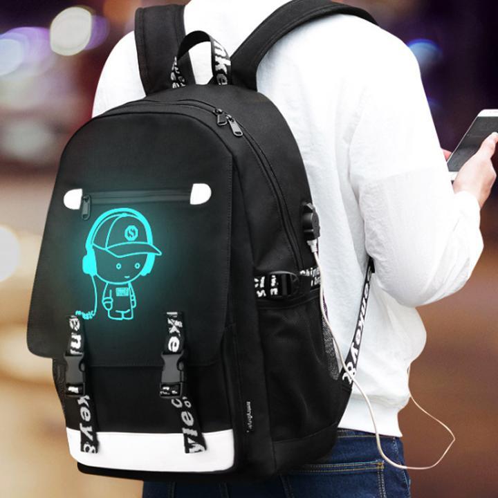 Hình ảnh Balo nam dạ quang phát sáng hình Chú bé nghe nhạc, tặng kèm cáp sạc USB & khóa số chống trộm