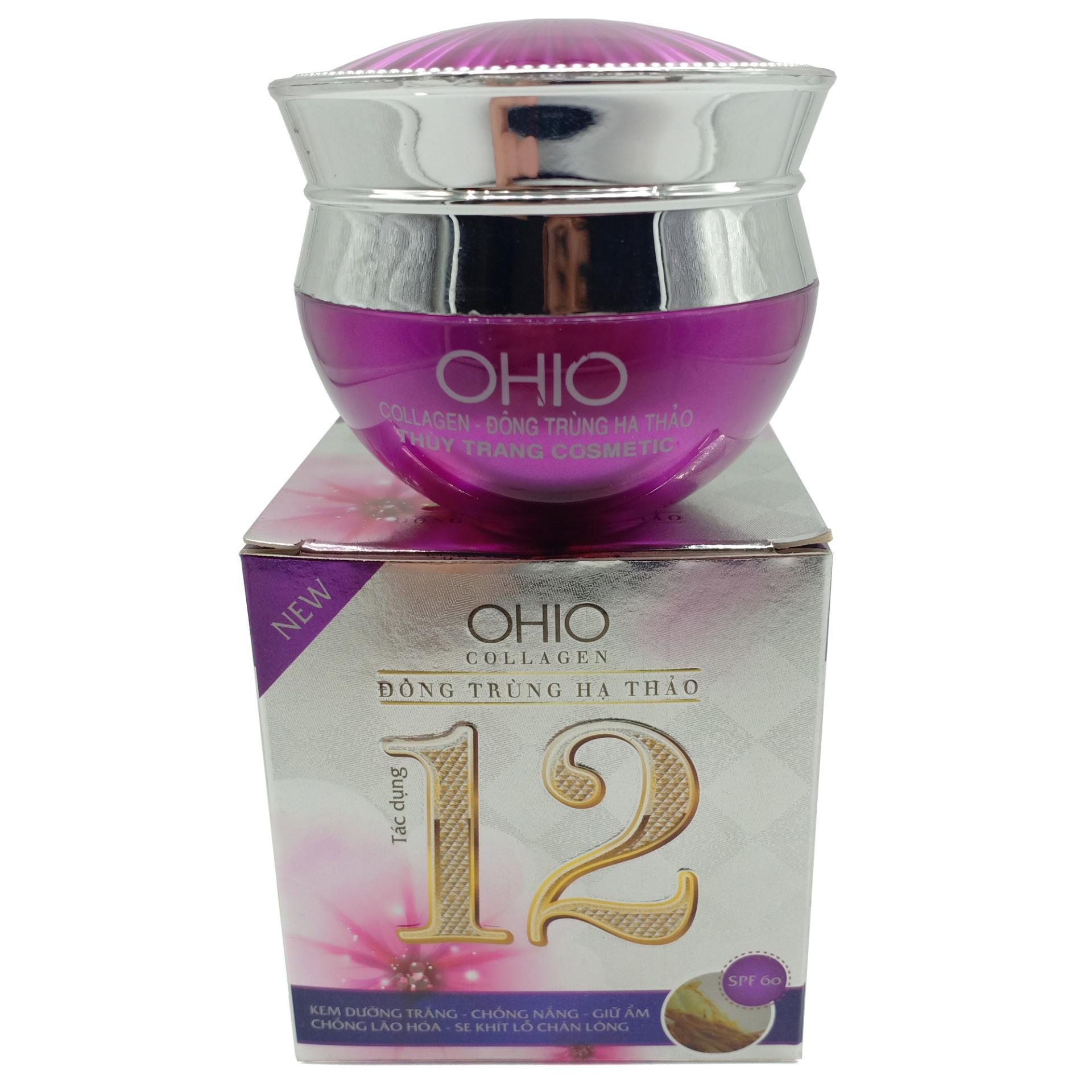 Kem dưỡng trắng - Chống nắng - Giữ ẩm - Chống lão hóa - Se khít lỗ chân lông 12 tác dụng Ohio Collagen - Đông trùng hạ thảo 30g