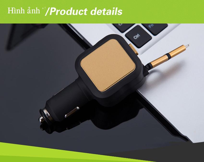 [TẶNG CHÂN TYPE-C] Tẩu sạc dùng trên trên xe hơi, ô tô 2 chân usb và 1 dây sạc cuộn thông minh dài 85 cm tích hợp công nghệ,bảo vệ điện áp đầu vào, quá tải pin, điện sạc nhanh 4.8A có sẵn chân micro-usb và iphone.