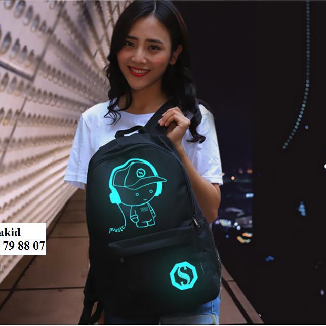 Hình ảnh Balo Dạ Quang Music Boy tích hợp cổng sạc USB - Kèm Khóa chống trộm, dây Cáp USB và ví