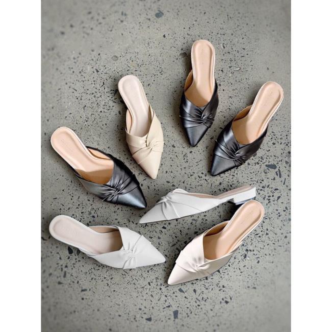 Sục nữ, giày nữ mũi nhọn da mềm kiểu xoắn chéo - A7 3