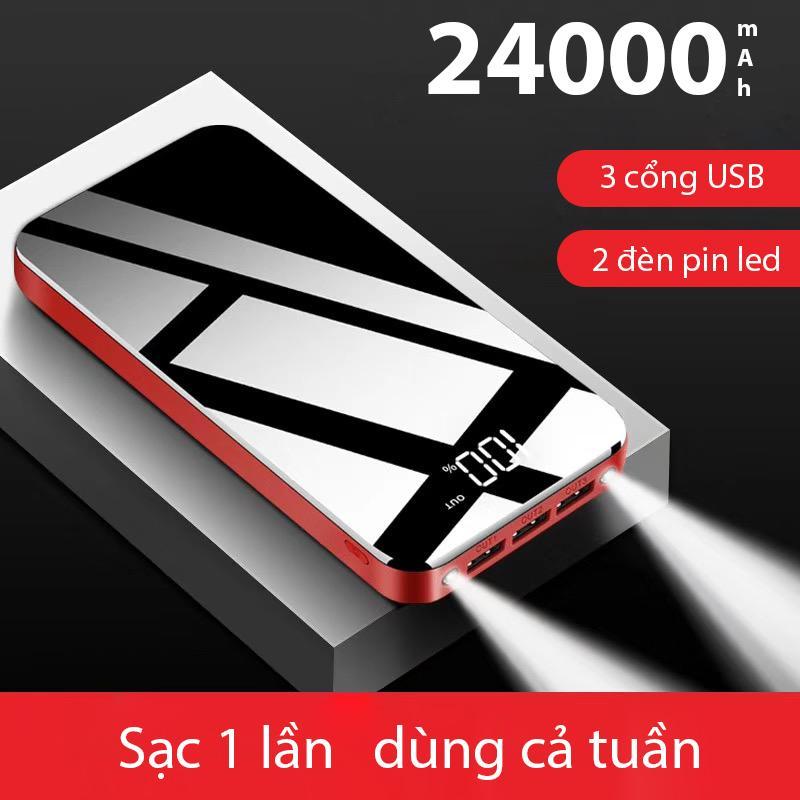 Pin sạc dự phòng K39 24000mAh Full mặt kính (Màu đen) dung lượng lớn có hiển thị lượng pin 3 cổng USB 2 đèn pin led sạc 1 lúc 3 thiết bị cực tiện lợi thích hợp cho cả Iphone lẫn Android