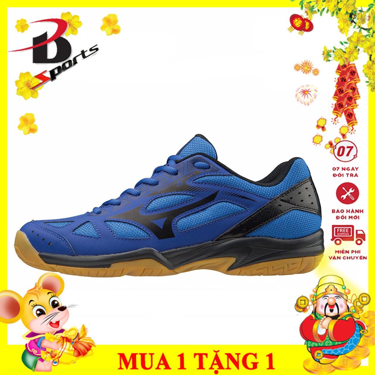 Giày đánh cầu lông nam nữ Mizuno màu xanh chuyên nghiệp, đế cao su chống mài mòn, chơi được sân bê tông, hỗ trợ vận động - Giày cầu lông Nam -Giày bóng chuyền Nam - Giay cau long - giay bong chuyen - BSPORT