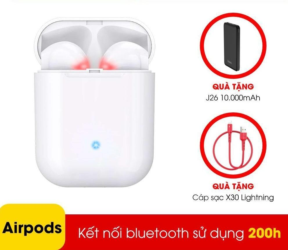 Tai nghe Bluetooth Hoco ES20 cao cấp kiểu dáng tai nghe Airpod, tai nghe bluetooth đôi, tai nghe true wireless - Tặng Dây cáp sạc Lightning Hoco X30 và sạc dự phòng J26 10000mAh