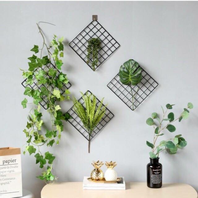 Bộ 4 - 6 khung hình lưới sắt nghệ thuật 35*35 cm tặng móc dán tường treo khung tranh