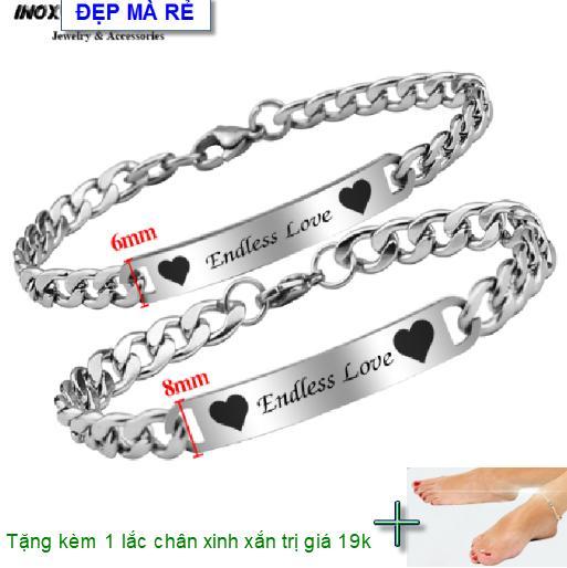 ( Tặng 01 lắc chân ) Lắc tay cặp đôi inox Đẹp Mà Rẻ khắc chữ Y Endless Love Y ( 2 Lắc Nam Nữ như hình ) - VTLT00009T035099