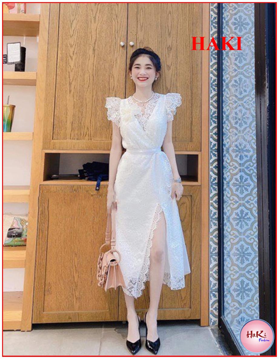 Hình ảnh Đầm váy nữ dự tiệc thiết kế Trắng phối ren cột eo cổ V sang chảnh đẹp phong cách thời trang HAKI MSP064