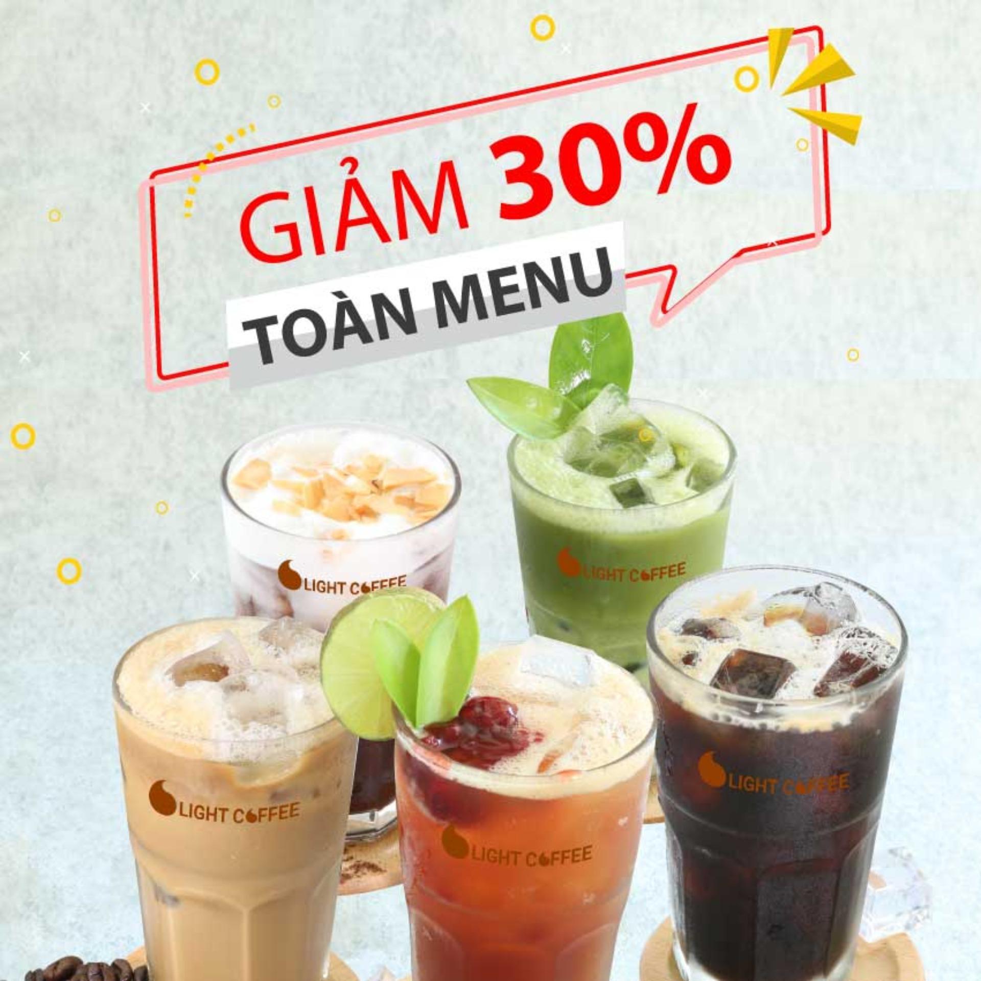 HCM - Evoucher Light Coffee Giảm 30% toàn menu thức uống, áp dụng tại Light Coffee Official Store