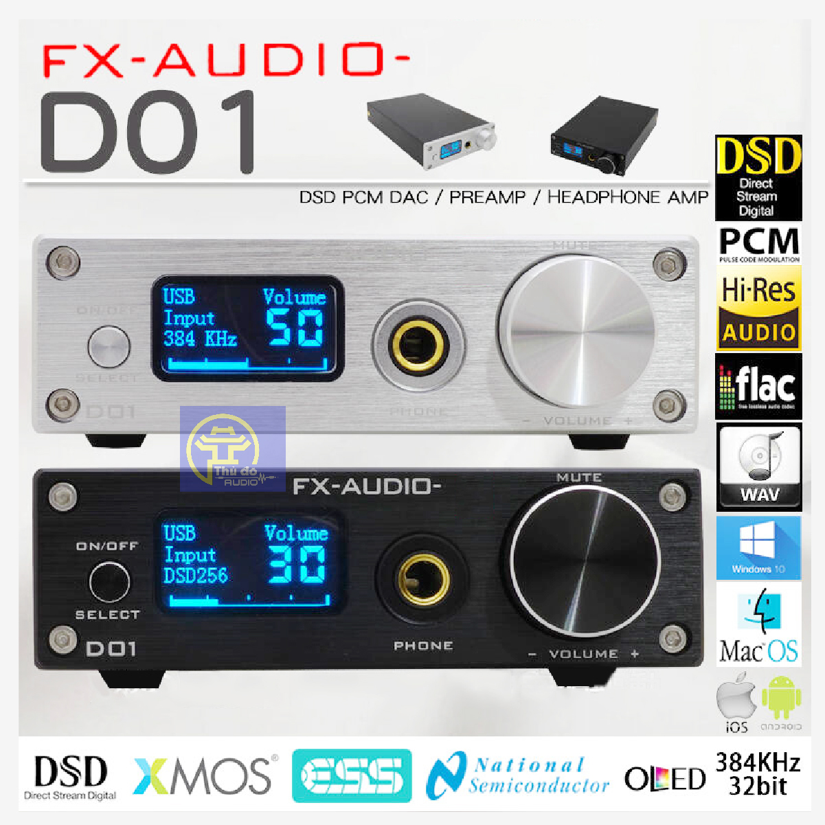 [Trả góp 0%]Bộ giải mã DAC FX audio D01 32bit Bluetooth - bản nâng cấp hoàn hảo của X7