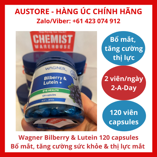 [Bill Úc, Date 30/1/22, 120 viên nang] Wagner Bilberry & Lutein 120 capsules - Viên uống bổ mắt Wagner Bilberry giúp tăng cường sức khỏe & thị lực mắt