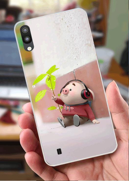 Ốp Lưng Samsung M10 (dẻo viền trắng trong) - Heo Nghe Nhạc