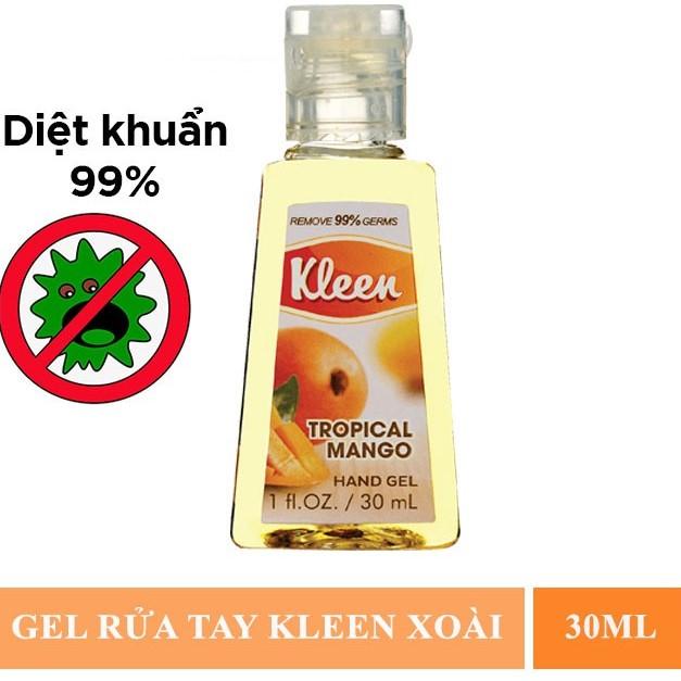 Gel Rửa Tay Khô Kleen Diệt Khuẩn 99% Hương Xoài 30ml