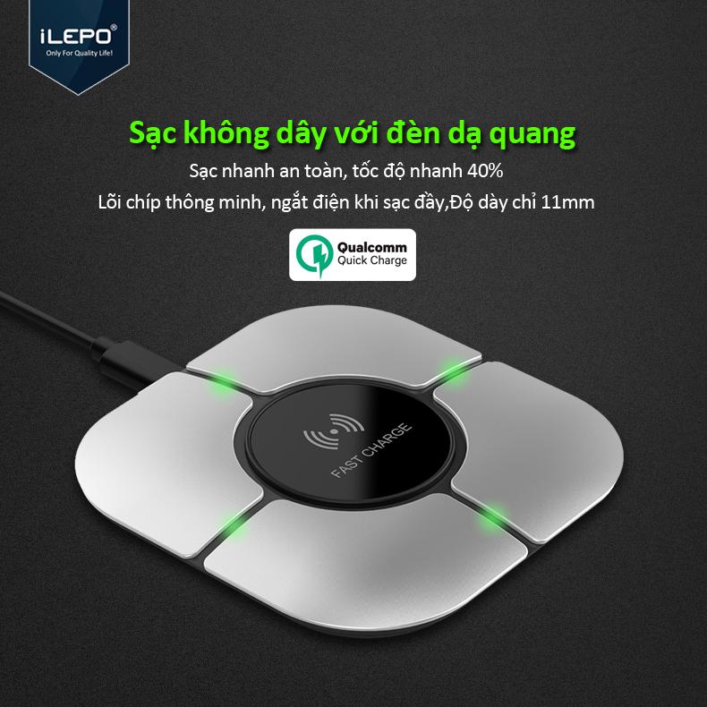 Đế sạc nhanh không dây 10W wireless fast charger cho điện thoại mới nhất hỗ trợ sạc không dây bảo hành 12 tháng WX012