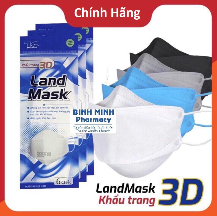 Khẩu Trang 3D Mask Land Mask CHÍNH HÃNG🌟Khẩu Trang Y Tế Kháng Khuẩn, Ngăn Bụi Mịn. ( Bịch 6 Chiếc )
