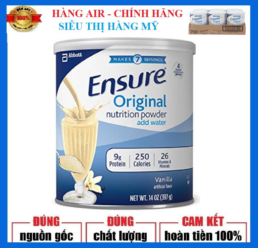 [Hàng air, Combo 6 lon] Sữa Ensure Original Mỹ 397g - Tăng cường sức khỏe cho người lớn tuổi