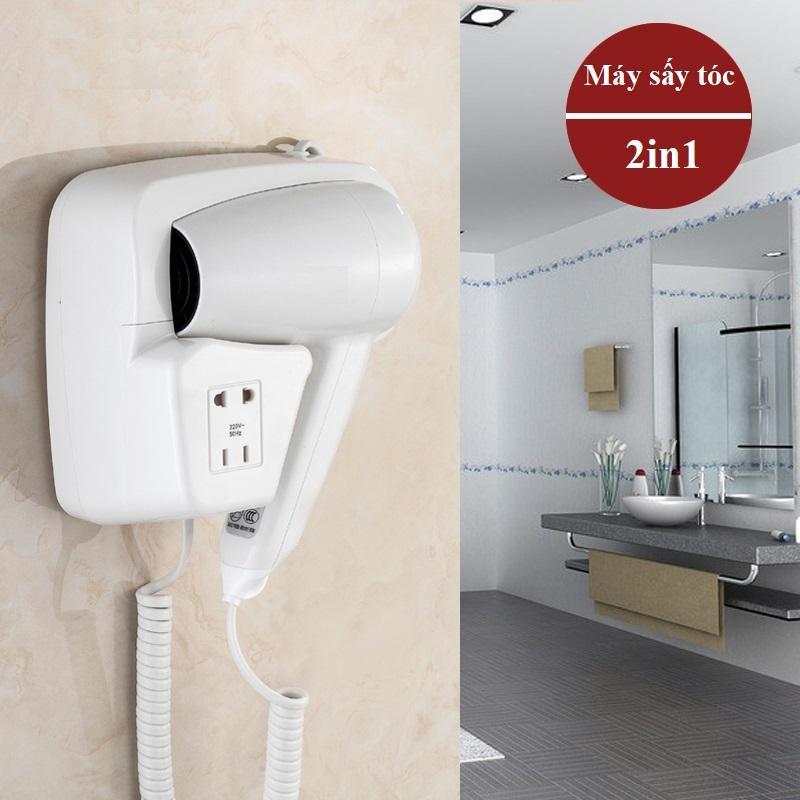 Máy sấy tóc treo tường kiêm ổ cắm điện cao cấp