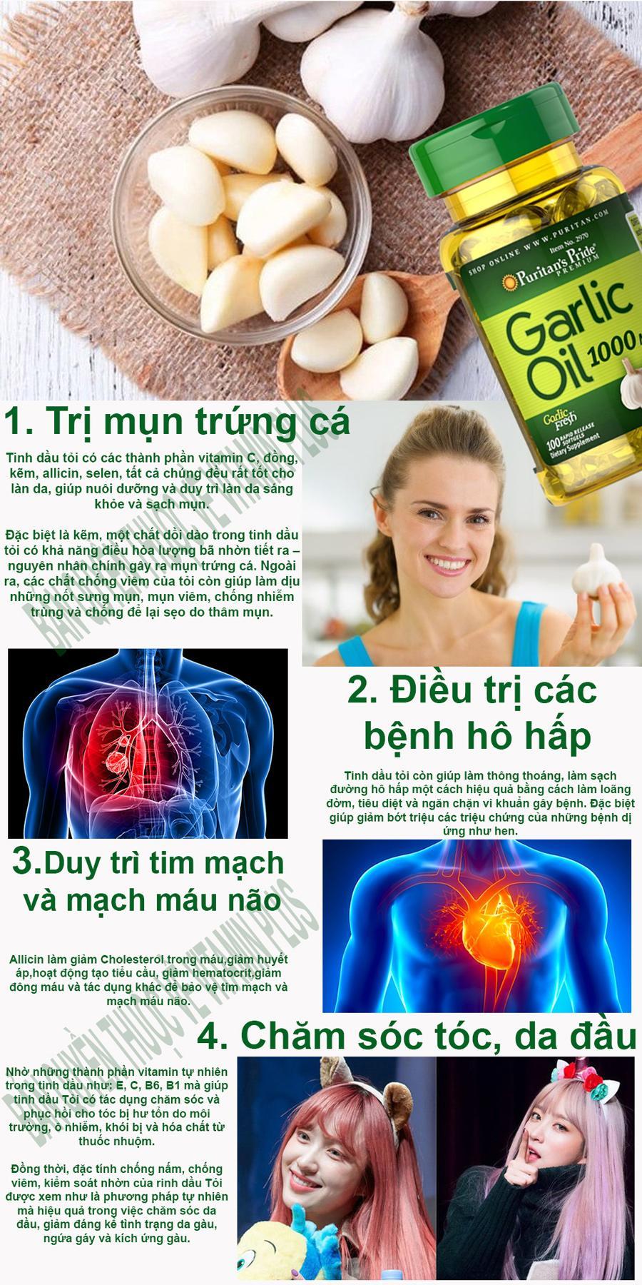 Dầu tỏi Garlic oil 1000mg của Mỹ tốt hơn 100 lần tinh dầu tỏi diep chi tăng cường hệ miễn dịch, phòng ngừa cảm cúm, giảm cholesterol, xơ vữa động mạch, Vitamin Mỹ Puritan s Pride 10 viên dùng thử 5