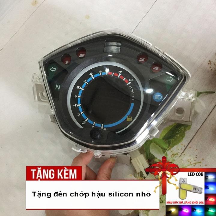 [CỰC BẤT NGỜ ]Đồng hồ điện tử LCD xe Wave RSX, Wave 110 với led 7 màu siêu nét G284 - Tặng kèm đèn chiếu hậu silicon
