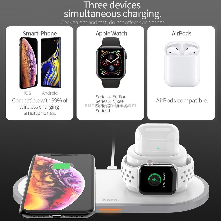 Đế Sạc Không Dây Loại Nào Tốt, Đế Sạc Nhanh Không Dây 3 Trong 1 HOCO CW21, Đế Sạc Nhanh Không Dây 3 In 1 Hỗ Trợ Sạc Cho Apple Airpods / Appe Watch / Smartphone (Công suất 18W, Wireless Quick charge, chuẩn Qi Apple)