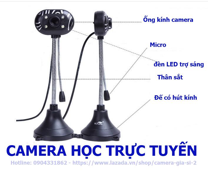 camera webcam Tích hợp Micro dùng cho học trực tuyến, họp online chất lượng hình ảnh HD720P và FHD 1080P có đèn LED trợ sáng . kết nối máy tính quan cổng usb . máy tính tự nhận cắm làm chạy không cần cài đặt 3