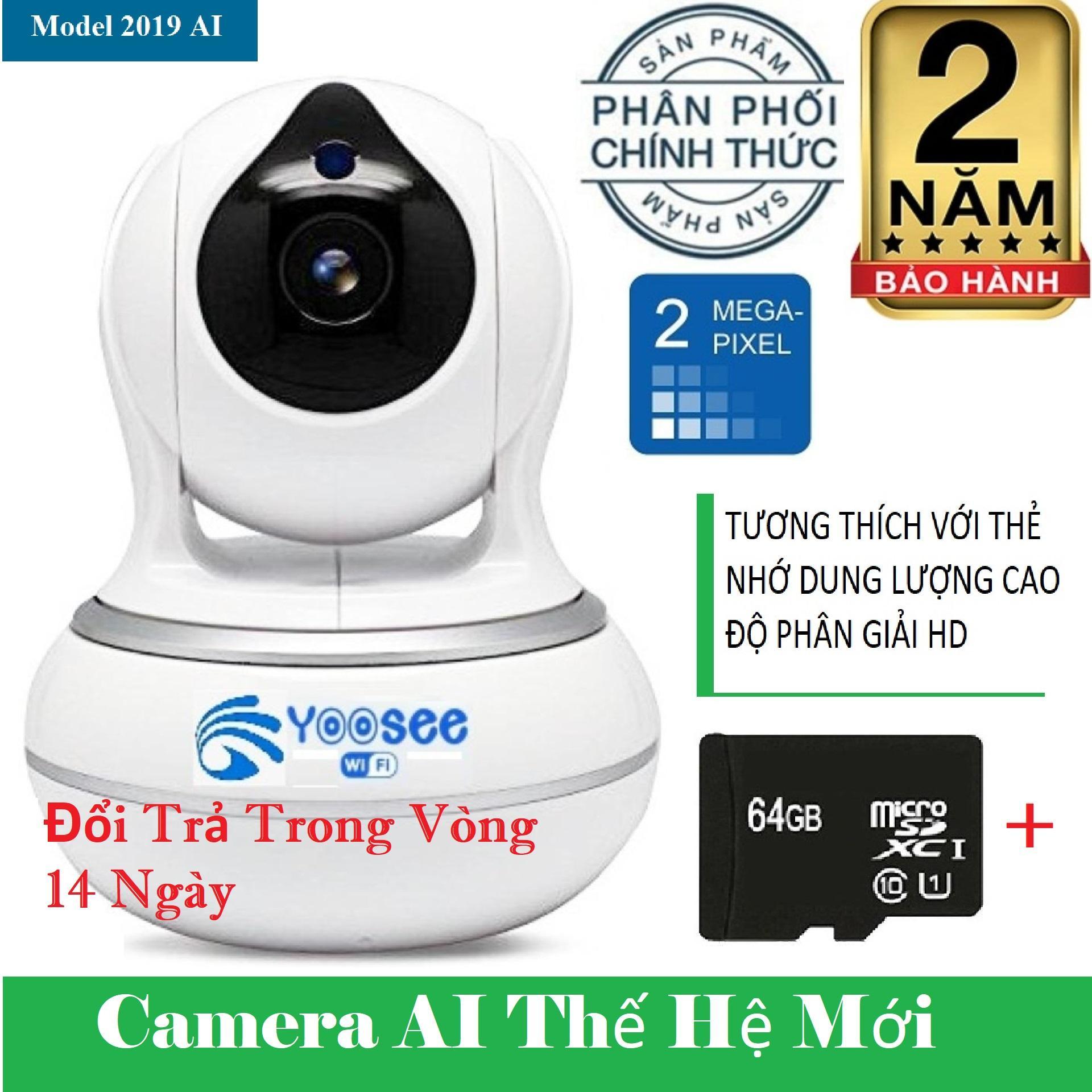 (BH 24 tháng cả máy lẫ thẻ,TẶNG THẺ NHỚ 64GB YOOSEE),Camera yoosee AI 2019,camera ghi âm giọng nói,đàm thoại song phương,lưu trữ video