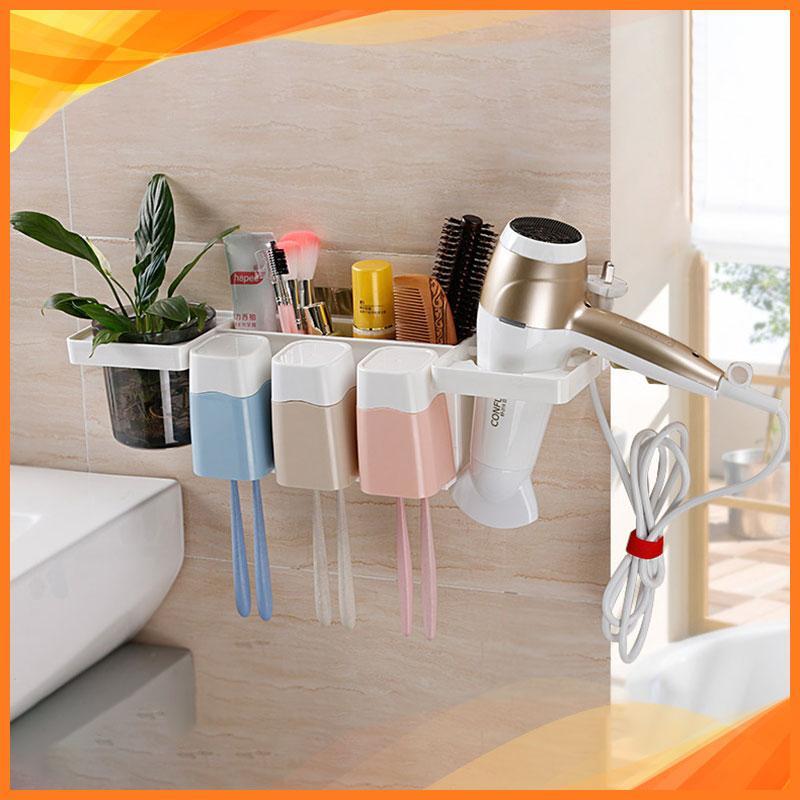 Kệ để đồ nhà tắm, treo bàn chải đánh răng, tặng kèm 3 cốc đa năng, có giá treo máy sấy tóc thông minh, không cần khoan tường 9243