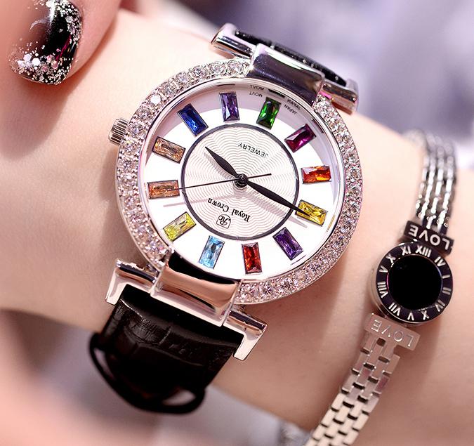 Đồng hồ nữ KING TIME Đính Đá Ruby Cầu Vòng, Mặt to nổi bật, Chống nước sinh hoạt 10