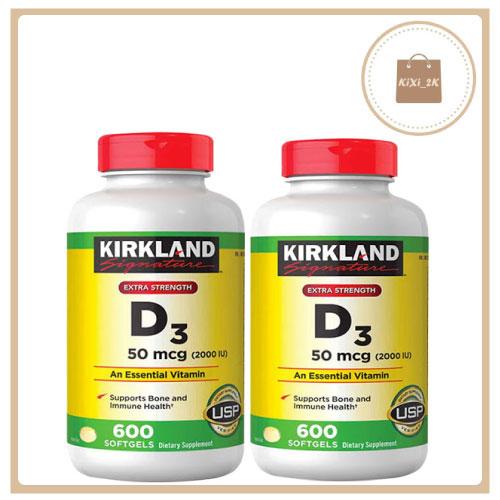 Viên uống Vitamin D3 50mcg (2000IU) 600 softgels, bổ sung nuôi dưỡng xương chắc khỏe