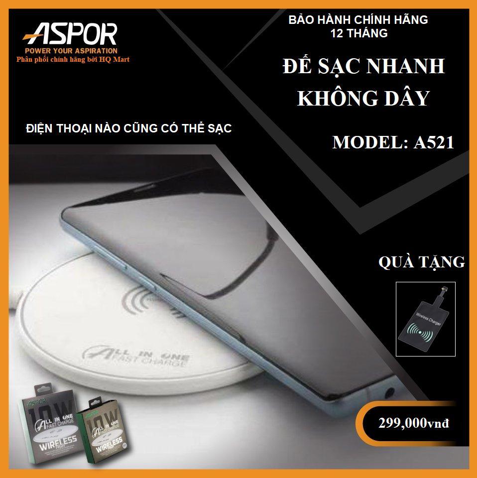 [ Tặng chip sạc samsung/iphone ] Đế sạc nhanh không dây siêu mỏng A521 chuẩn QI công suất 10W và chuẩn sạc nhanh QC 3.0 kích thước cuộn dây điện từ lớn có đèn led báo đệm cao su chống trượt sử dụng cho các dòng điện thoại có hỗ trợ sạc không dây