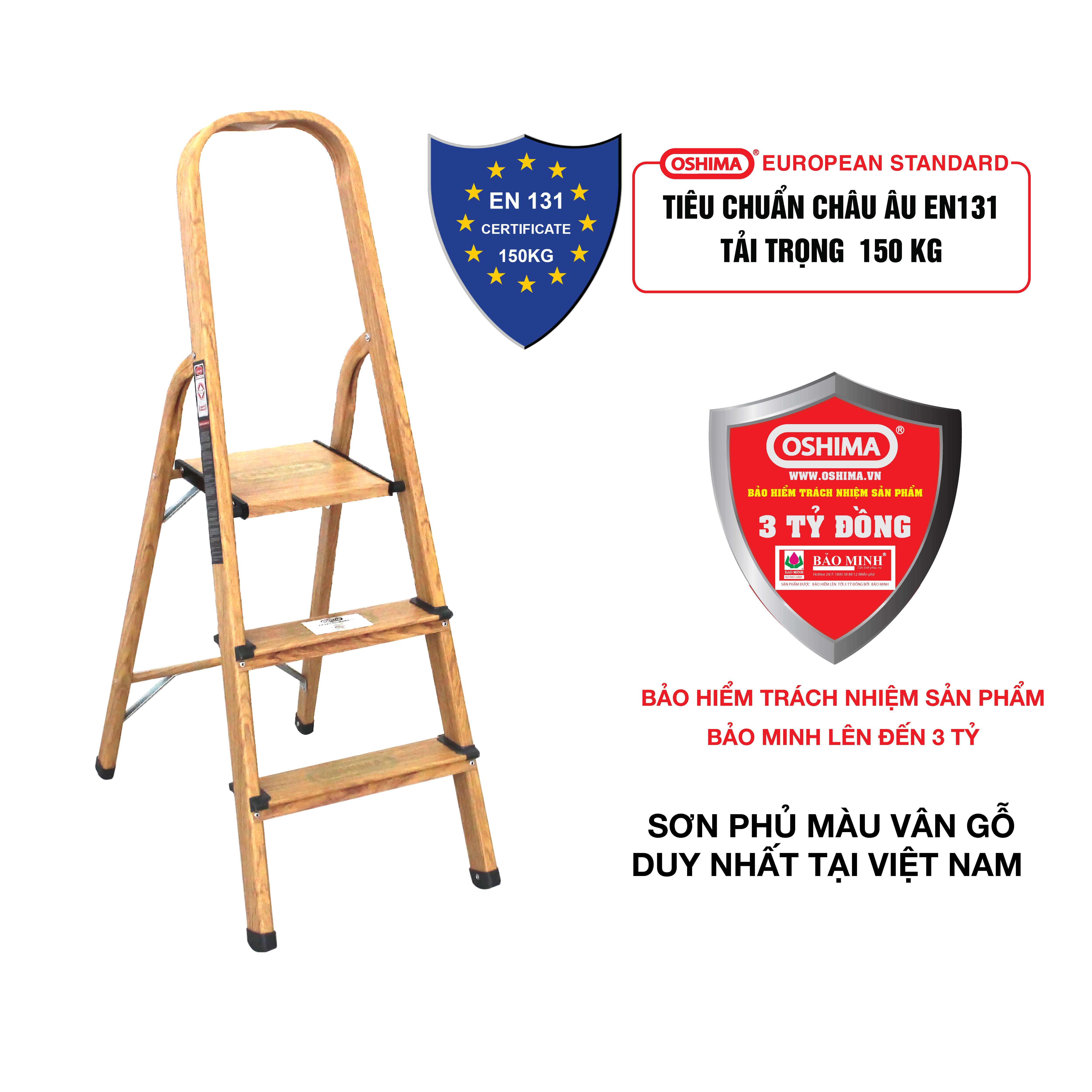 Thang nhôm ghế 3 bậc Oshima TG3 – Thang nhôm gia đình - Bảo hiểm trách nhiệm chất lượng sản phẩm Bảo minh lên đến 3 tỷ đồng - Bảo hành 12 tháng
