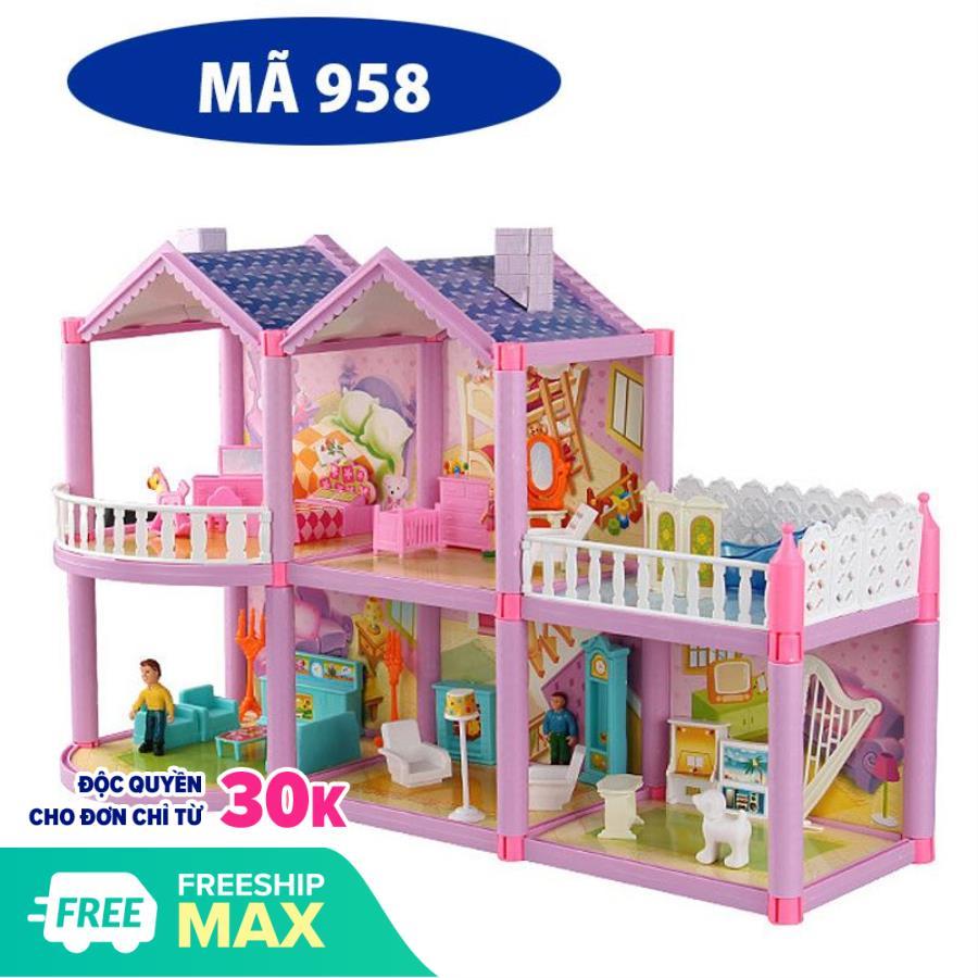 Hình ảnh Mô hình nhà búp bê cỡ lớn cho các bé chơi đồ chơi Barbie chất liệu nhựa an toàn cho bé, đảm bảo tiêu chuẩn vệ sinh
