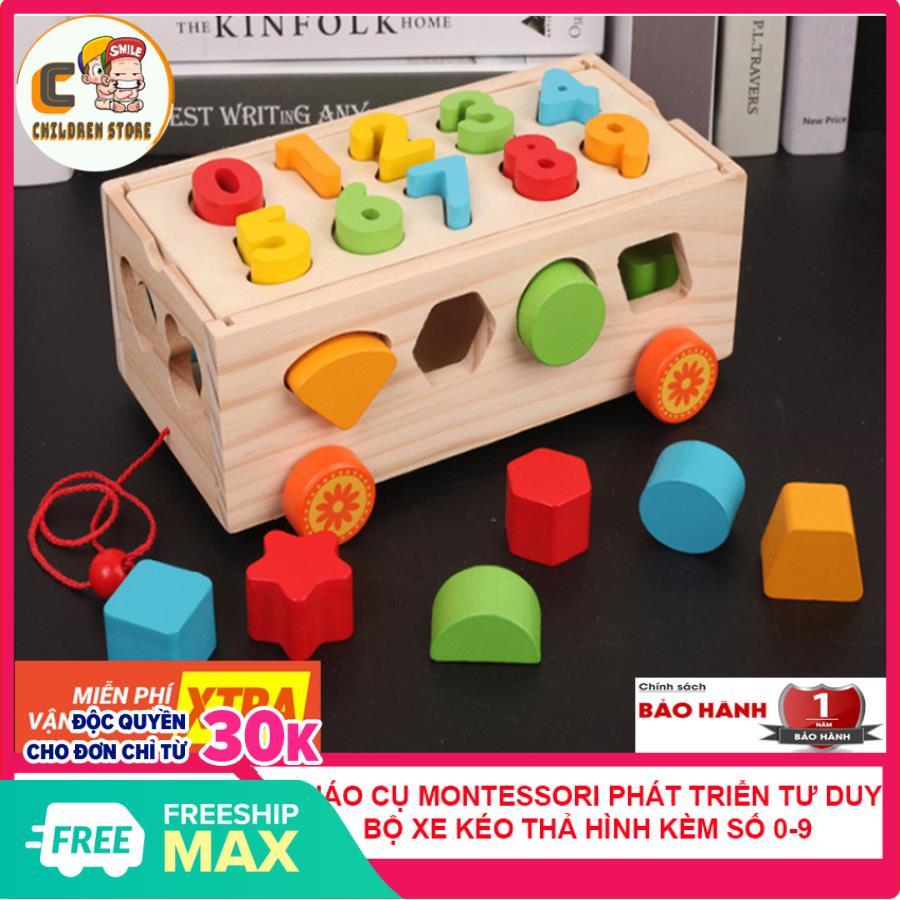 [ XẢ KHO 3 NGÀY] Đồ Chơi Xe Kéo Thả Hình Ghép Số 2 Trong 1 Bằng Gỗ, Đồ Chơi Theo Phương Pháp Montessori, Giáo Cụ Montessori Phát Triển Tư Duy Cho Bé BẢO HÀNH 12 THÁNG