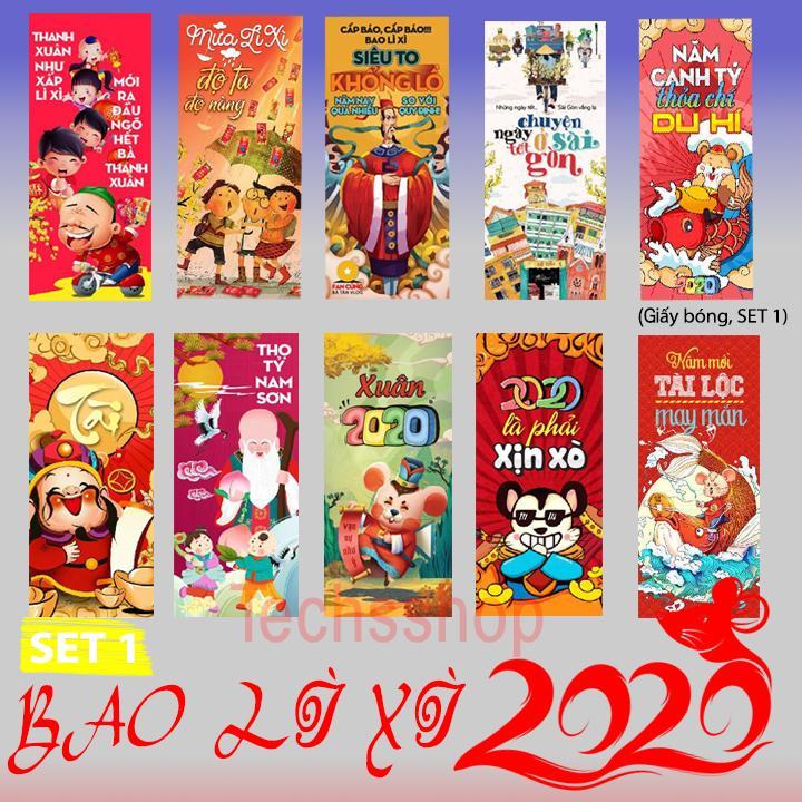 [Cho chọn mẫu, set 10 chiếc] Bao lì xì tết 2020 - Bao lì xì đỏ - Bao lì xì 2020 - Bao lì xì giấy drap dày - Bao lì xì giấy bóng - Bao lì xì xuân - Bao lì xì năm con chuột - Nhiều mẫu mới nhất 2020 - Set 10 cái