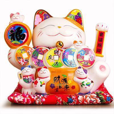Hình ảnh Mèo Thần Tài Sứ , Mèo May Mắn Maneki Neko cao 23cm. Vẩy Tay Gọi Khách BÁT PHƯƠNG KHAI TÀI