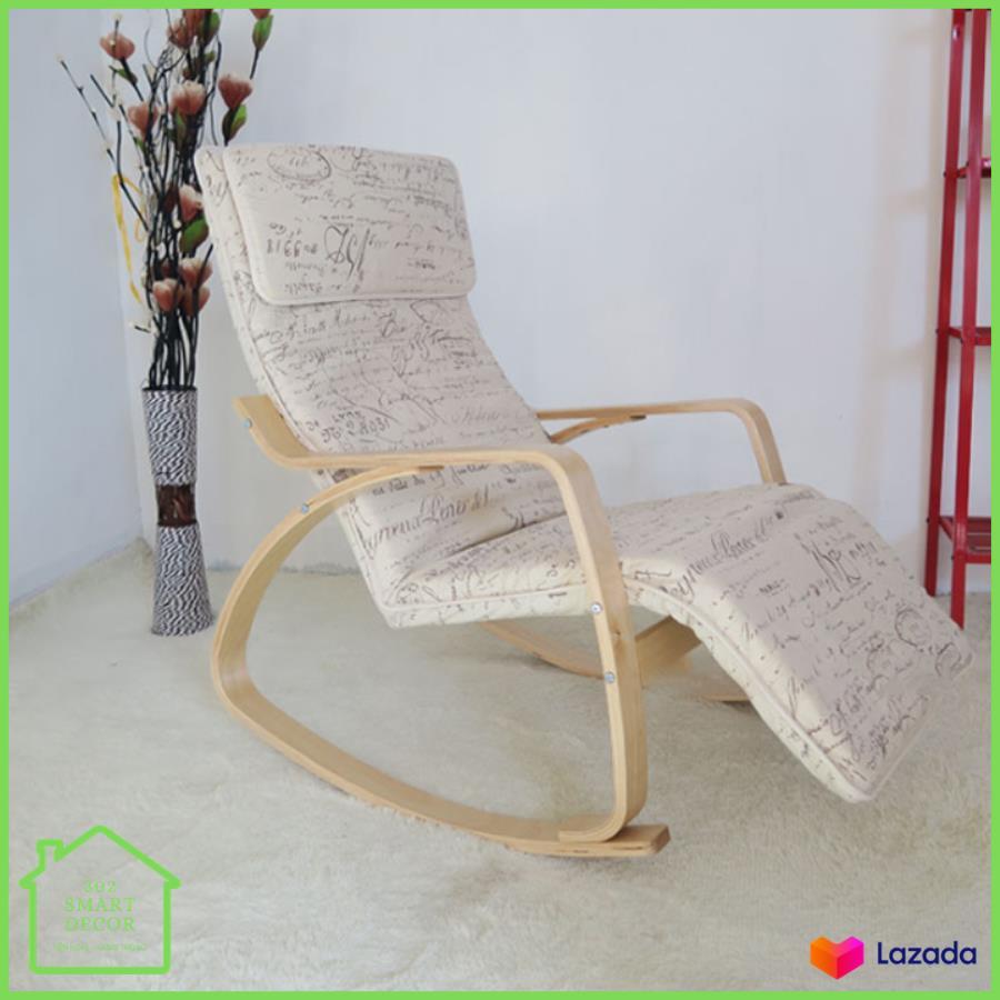 Ghế thư giãn Poang, ghế Poang có tựa chân, khung gỗ bạch dương và nhựa nhiệt dẻo an toàn, nệm mút dày êm ái M006-1