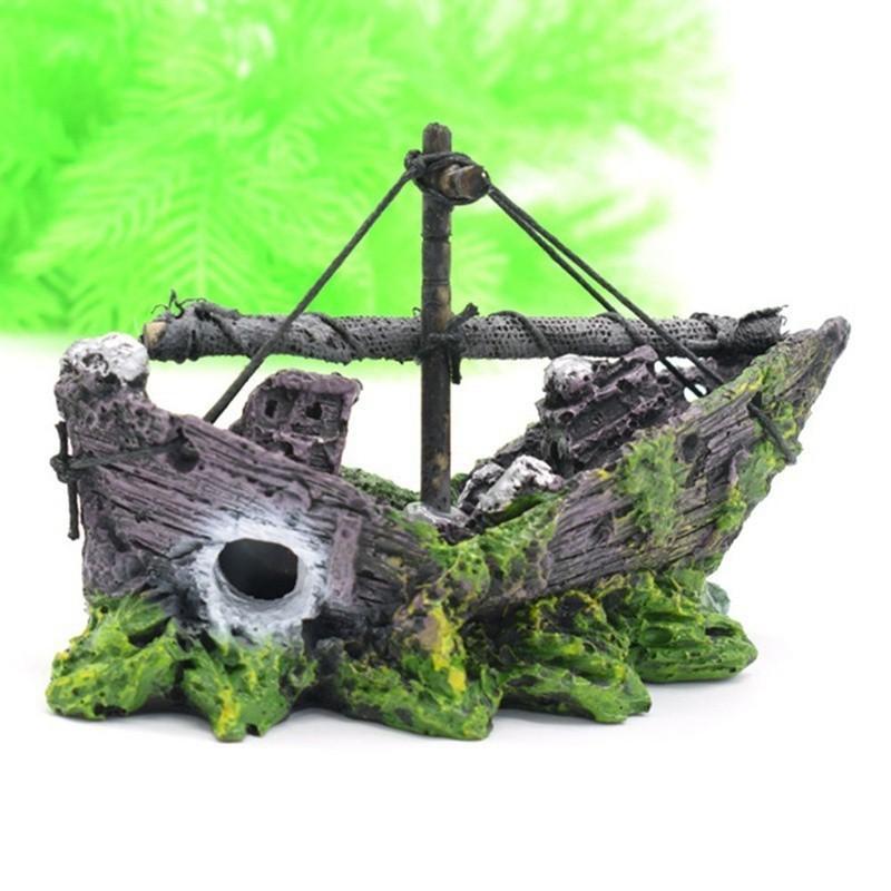 Mô hình xác tàu đắm bằng nhựa kích thước 13*5*10cm dùng trang trí hồ thủy sinh , bể cá cảnh, bể cá mini