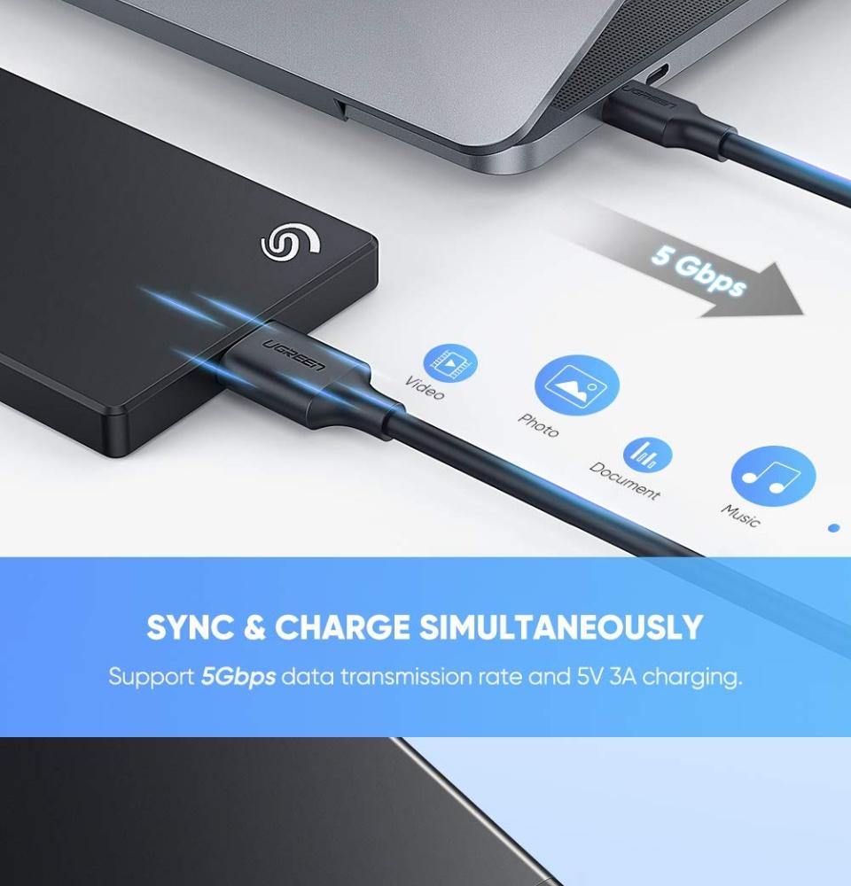 Cáp USB type C sang Micro B UGREEN US312 20103 dài 1m, tốc độ truyền dữ liệu nhanh, tương thích Western Seagate Toshiba Canvio, Galaxy S5 Note 3...