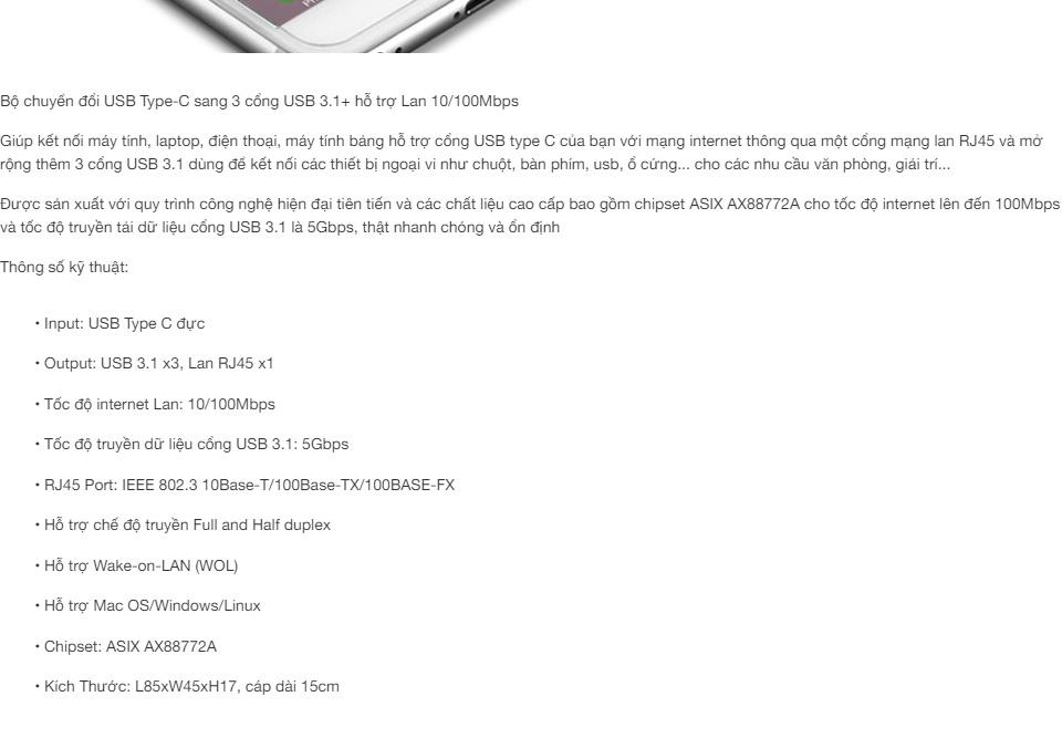 Bộ chuyển đổi USB Type-C sang 3 cổng USB 3.0+ hỗ trợ Lan 10/100Mbps, 15cm UGREEN US237 40382
