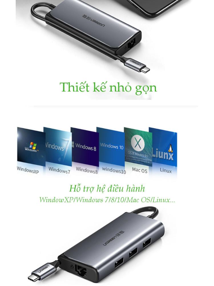 Cáp chuyển đổi USB type C (5 in 1) sang cổng mạng Gigabit RJ45, 3 cổng USB3.0, 1 cổng USB type C hỗ trợ sạc PD dài 15cm UGREEN CM141 50252