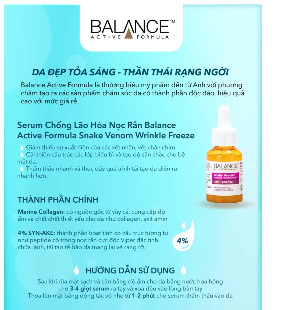 TẶNG TẨY TRANG PURITY 200ML] Serum chống lão hóa nọc rắn Balance Active  Formula Snake Venom Wrinkle Freeze 30ml | Lazada.vn