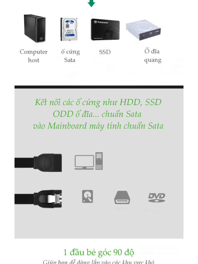 Cáp SATA 3.0 1 đầu bẻ góc 90 độ, kết nối các loại ổ như HDD, SSD, ODD hỗ trợ chuẩn Sata tới chân cắm Sata trên Mainboard máy tính dài 0.5m UGREEN 20998