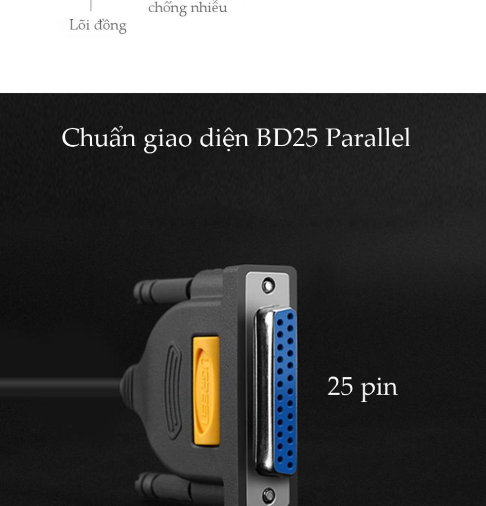 Cáp máy in USB 2.0 sang cổng BD25 Parallel (hỗ trợ đời máy in cũ) dài 1m UGREEN US167 20793