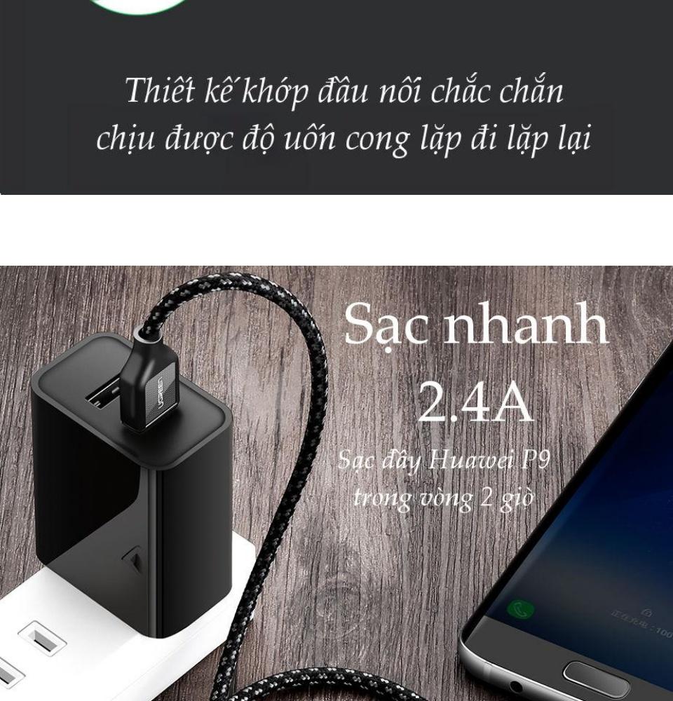 Cáp dữ liệu sạc nhanh dòng 2.4A, điện trở 56kΩ, cho điện thoại Android cổng USB type C cho Xiaomi 8/Mix/6/6X/5C/5X, Samsung S9/S8/S6... độ dài từ 0.25-2m UGREEN US259